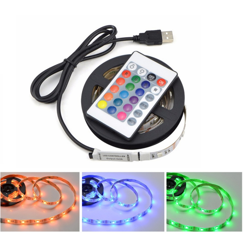 0.5M 1M 2M SMD RGB USB LED Strip light DC 5V TV LCD Background Lighting With 24key IR Controller Tape Non-Waterproof ...