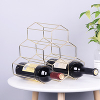 Nordic Geometric Wine Rack Iron Simple Household Grape Wine Rack Ar Wine Cabinet Wine Display Restaurant Living Room Decor