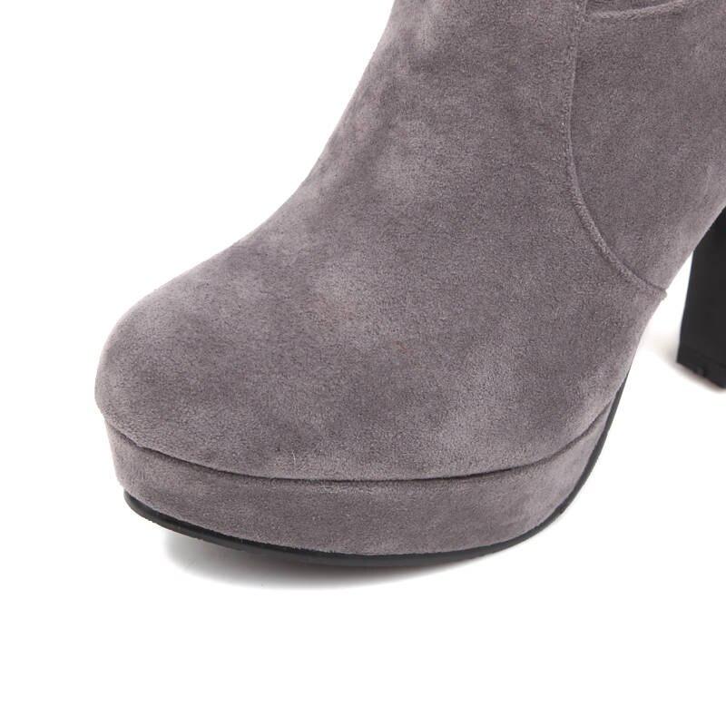Rond Fringe rouge Troupeau Chaussures Talons Hauts Noir Date gris Morazora Bout Rouge 2018 Haute Hiver Automne Bottes Genou Femmes forme Femme Plate 0170azwSqx