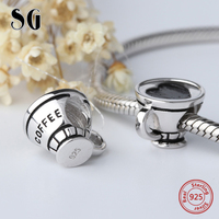 Silver Galaxy 925 Sterling Silver Coffee Cup Love Heart Beads For Women Fit Original Pandora Charms