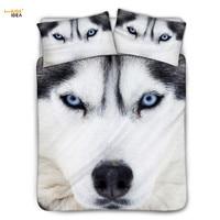 HUGSIDEA Cool Animal Wolf 3D Printed Duvet Cover Cotton Pillowcase Warmer Soft Home Textile Bedding Sets Comfortable 3pcs Luxury