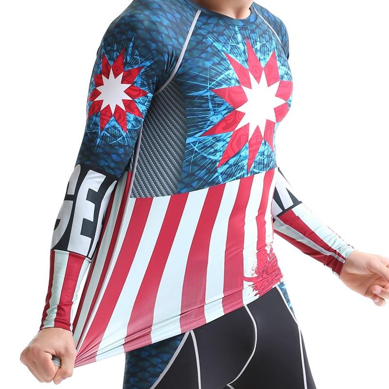 Мужская спортивная футболка Life on Track с 3D принтом и длинными рукавами для бега, термальная компрессионная рубашка для мышц, спортивный топ MMA - 5