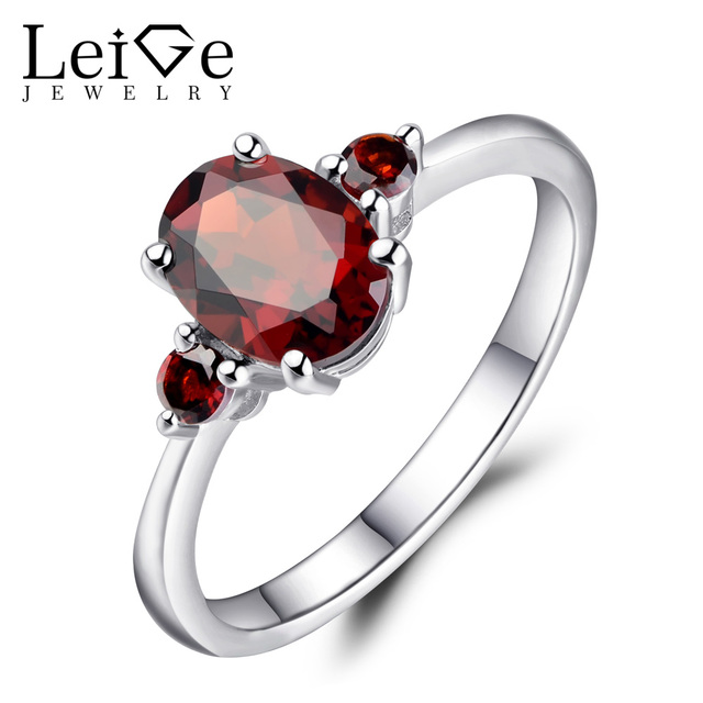 Leige Jewelry Red Garnet Wedding Rings For Women Oval Cut 925 Sterling Silver G Setting