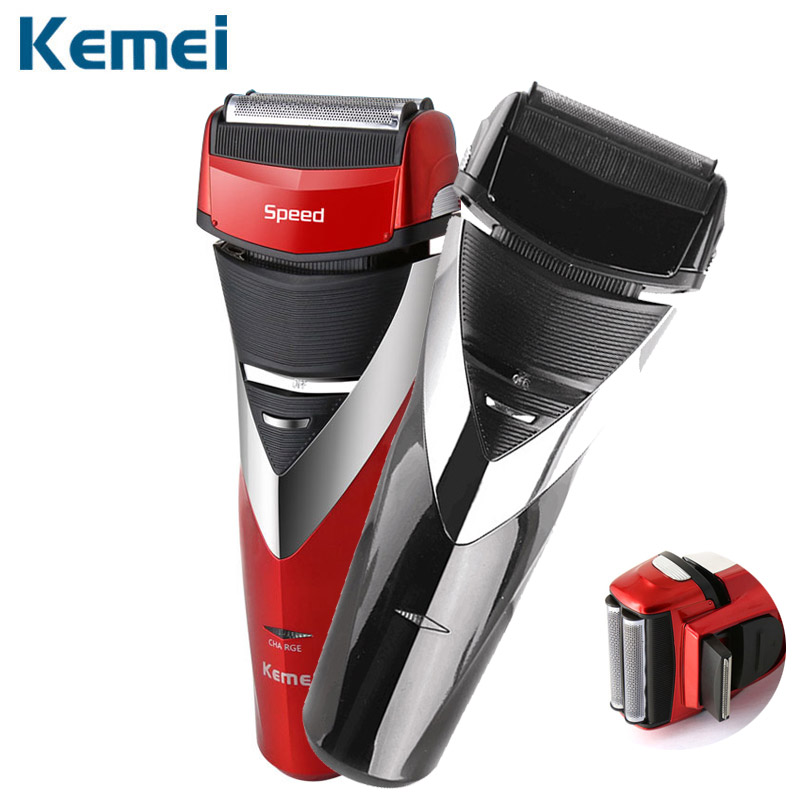 Kemei Rechargeable Electric Shaver Reciprocating Razor 3D Floating Razor Beard Trimmer Shaving Machine Men Face Care KM-8101 povos ps6305 electric rechargeable dual head reciprocating shaver razor w trimmer black blue