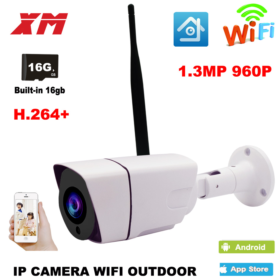 Outdoor Waterproof Bullet 960P IP Camera Wifi Wireless Surveillance Camera Built-in 16G Memory Card CCTV Camera Night Vision cctv camera housing aluminum alloy for bullet box camera with bracket for extreme cold or warm outdoor built in heater and fan