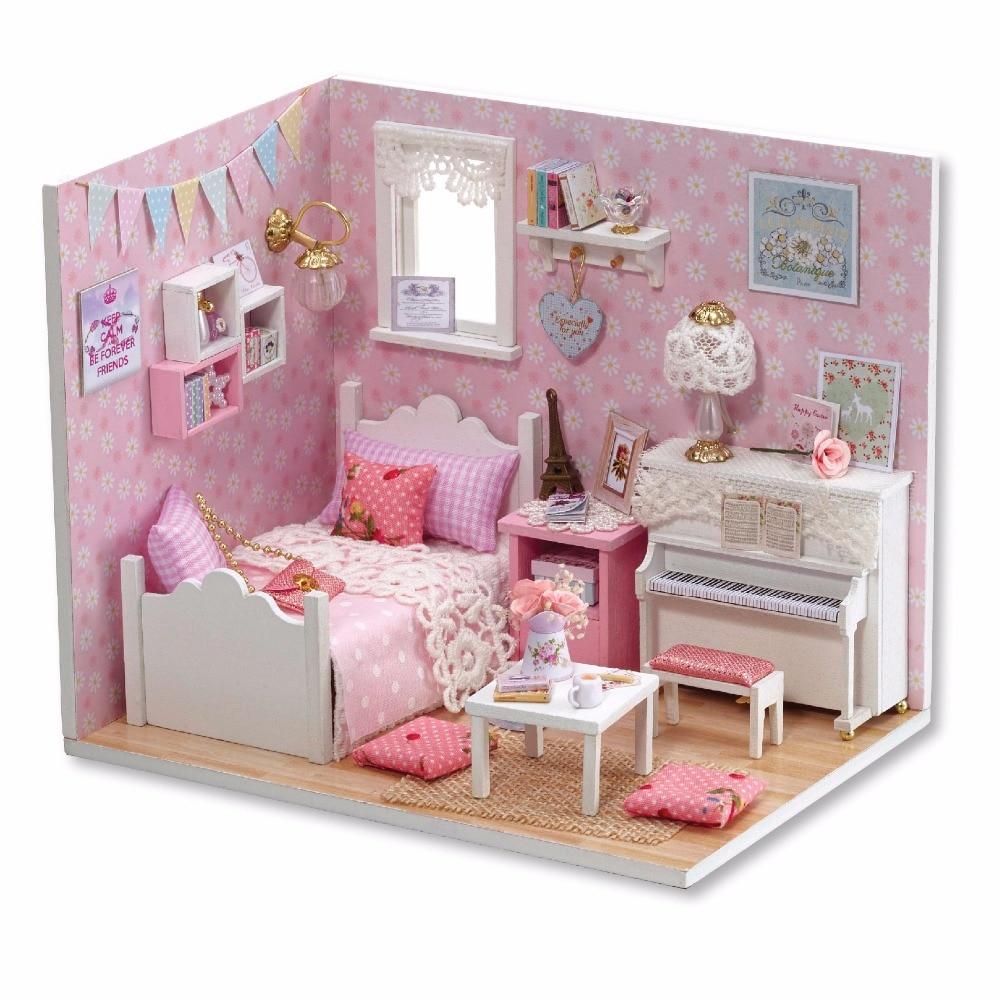 Girls Kids Childrens Wooden Nursery Bedroom Furniture Toy: CUTE ROOM Handmade Doll Miniature Furniture DIY Doll House