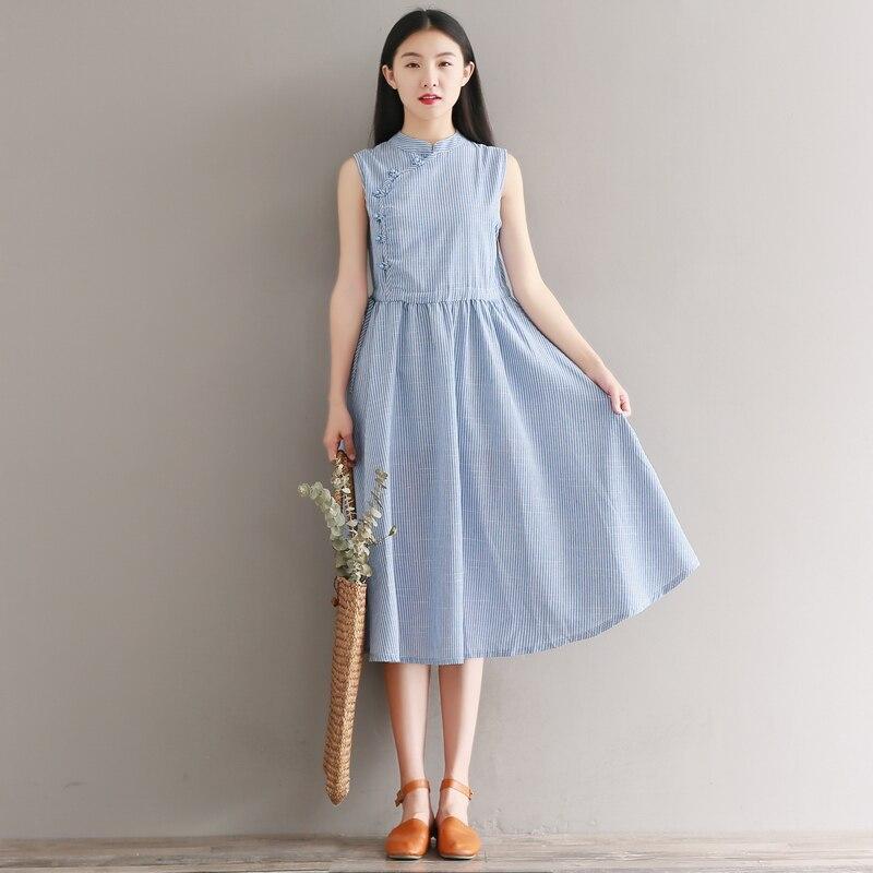 2020 Sleeveless Qipao Vintage Cheongsam Chinese Style Mandarin Collar Dress Handmade Long Embroidered Floral Jacquard Qipao
