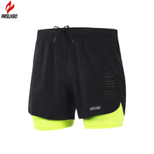 Arsuxeo 2018 New Running Shorts Men 2 In 1 Compression Marathon Quick Dry Gym Tights Sport Shorts with Reflective Zipper Pocket