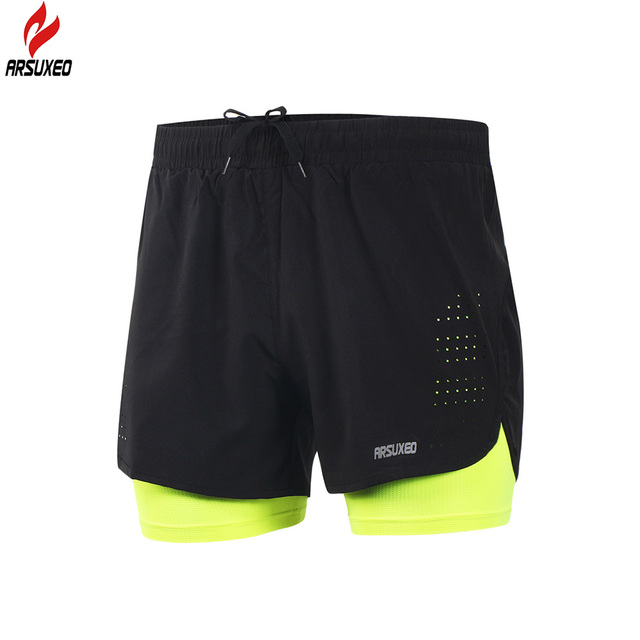 Arsuxeo 2018 Novos Shorts Homens 2 Em 1 Maratona de Compressão Ginásio  Calças Quick Dry Esporte 41ed65429bd8c