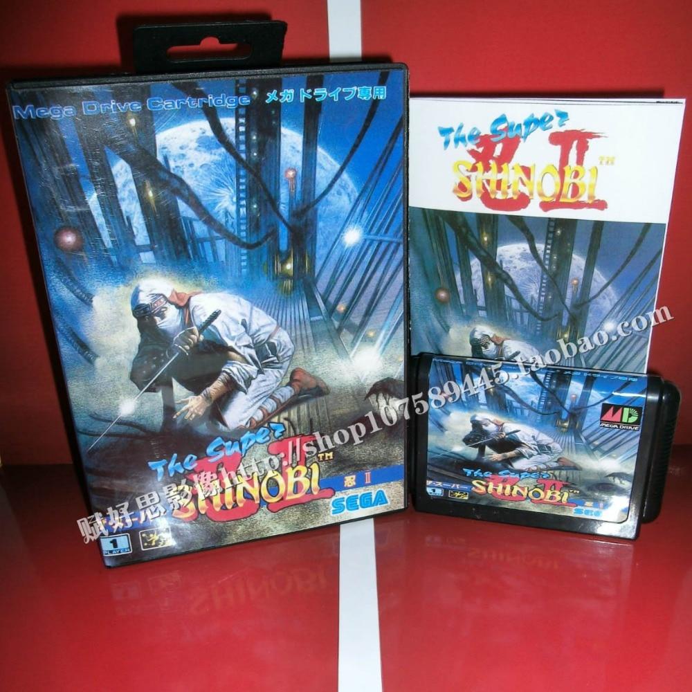 The super shinobi 2 Game cartridge with Box and Manual 16 bit MD card for Sega Mega Drive for Genesis