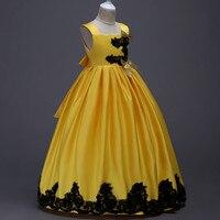 Cetim Meninas Vestidos Crianças Lace Xmas Casamento Da Dama De Honra Formal Pageant vestido de Noite Vestido de Comprimento No Tornozelo