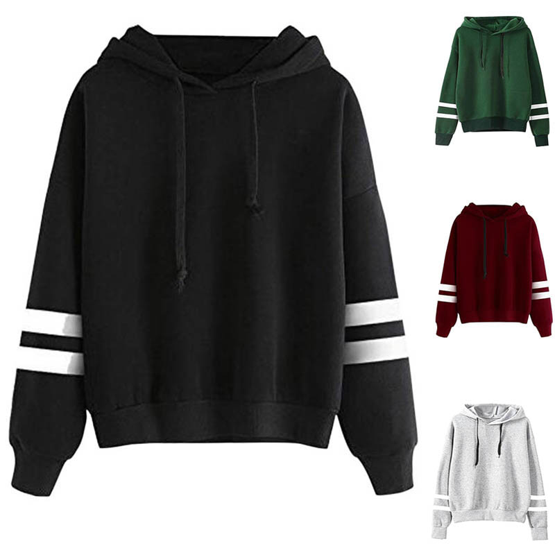 Fashion Autumn Winter Women Sweatshirt With Hat Drawstring Long Sleeve Striped Splicing Hoodies Ladies Girls Pullover QL Sale