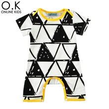 Bebé de Los Mamelucos Del Verano 2017 de Dibujos Animados Jumpauit Para Ropa de Bebé de Moda Lindo Triángulo Geometría Niña Recién Nacido Infantil Del Mameluco Del Traje(China (Mainland))