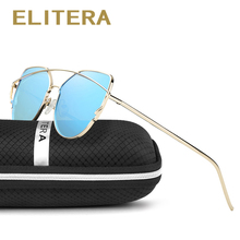 ELITERA Cat Eye Polarized Sunglasses Women Classic Brand Designer Glasses Twin-Beams Frame Mirror Sun Glasses UV400