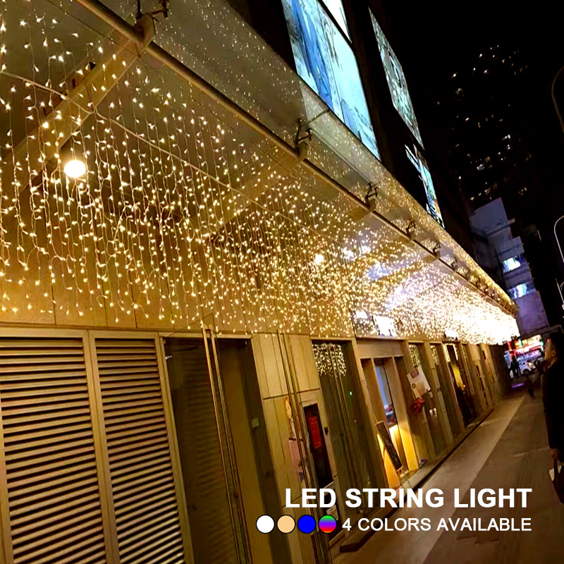 Holiday Decoration 4m 13ft Droop 0.4m 0.5m 0.6m LED Curtain Icicle String Light Fairy Garland Wedding Party Christmas Outdoor