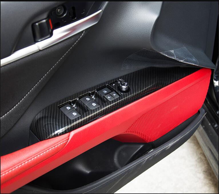 For Toyota Camry 2018 Left Hand Drive Auto Per Porte E Finestre Sollevare Interruttore di Copertura Trim ABS Opaco 4 pz
