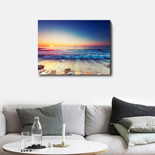 Laeacco Canvas Calligraphy Painting on the Wall  Posters and Prints Sea Sunrise Beach Art Picture Home Decoration