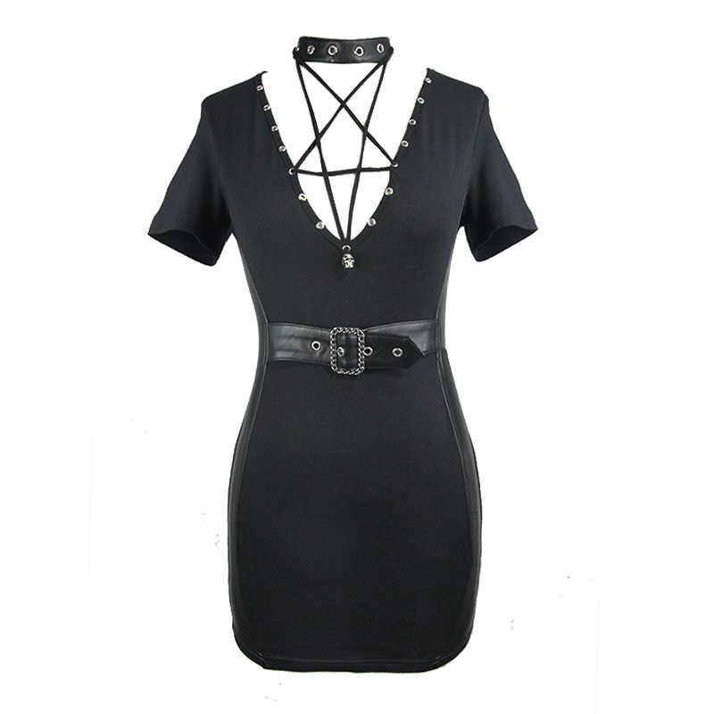 Готический женские платья пикантные узкие Черное короткое платье Глубокий V шеи Slim Fit Punk Rock 2019 летние платья с ремень-удавка новый в