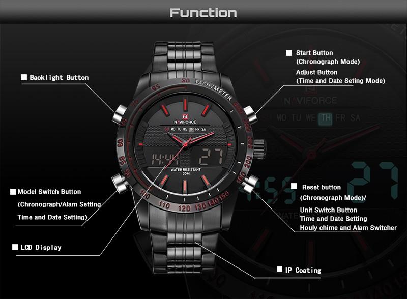 Naviforce NF9024B Men Quartz Sport Watch Date Stainless Steel