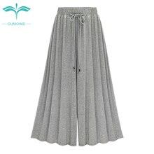 Oumowei Wide Leg Pants Women Summer 2018 Modal Thin Loose Higt Waist Pants Big Szie Solid Casual Ankle-Length Pants 5XL 6XL