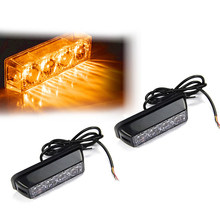 2X 4LED Flashing Grill Light Bar Truck Recovery Strobe Lamps Amber Beacon 12/24V(China)