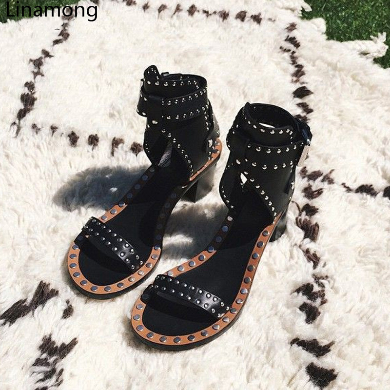 2018 branded metal rivets sandals open toe wooden chunky high heel sandals rock style ankle strappy roman women summer shoes 2018 branded metal rivets sandals open toe wooden chunky high heel sandals rock style ankle strappy roman women summer shoes