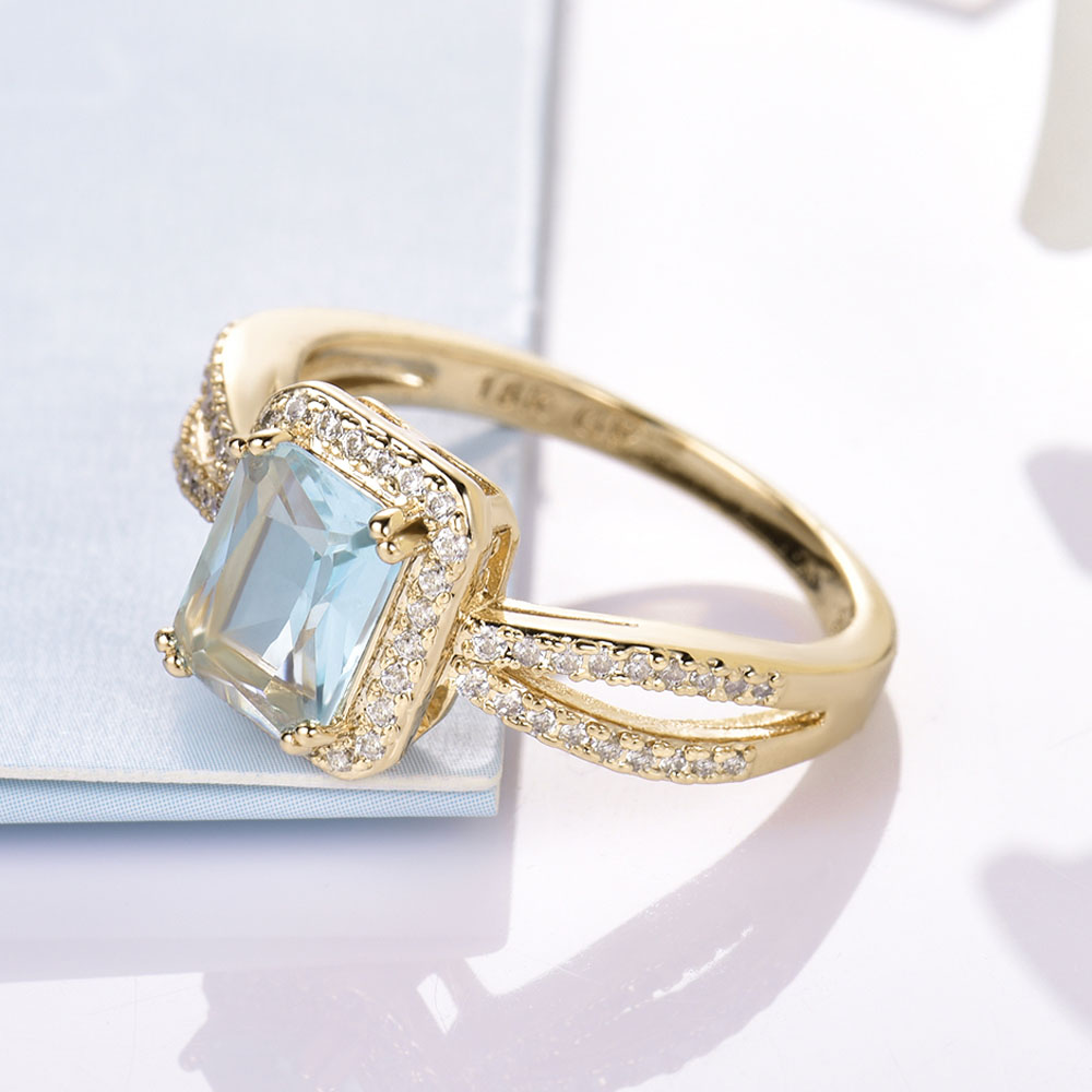 MOLIAM Square Cubic Zircon Rings for Ladies Light Blue/Green Stone Finger Rings 2017 Fashion Trendy Jewelry Gift MLR376/MLR377