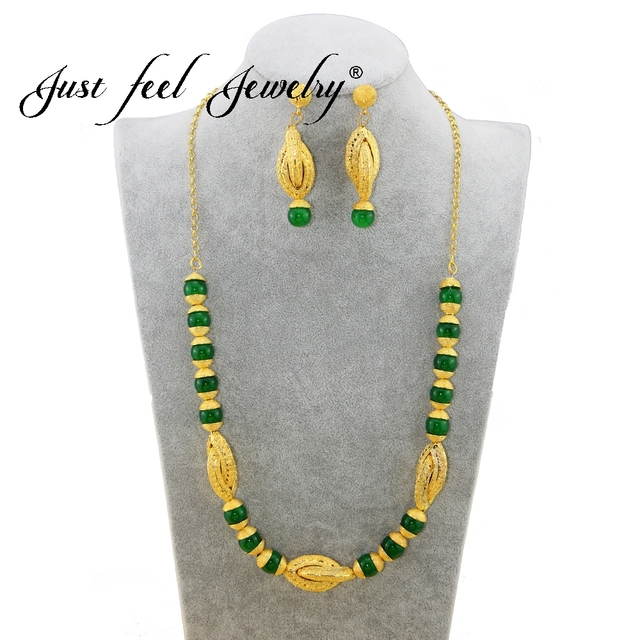 JUST FEEL 3 Colors India Beads Gold Color Jewelry Set Long Earrings Necklace Set