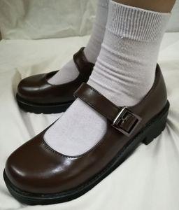 Image 4 - Japanese School Students Uniform Shoes Uwabaki JK Round Toe Buckle Trap Women Girls Lolita Cosplay Med Heels G10