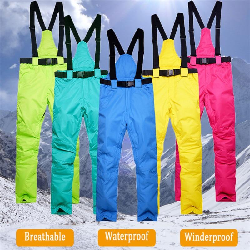 Новинка зимние плотные теплые лыжные брюки для мужчин и женщин ветрозащитные водонепроницаемые брюки на подтяжках зимние брюки для сноубо...