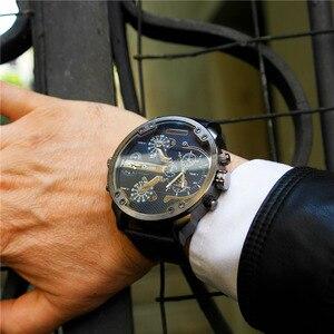 Image 2 - Oulm Klassische Multiple Time Zone herren Uhren Super Große Zifferblatt Männlichen Sport Uhr Luxus Marke Casual Leder Quarzuhr