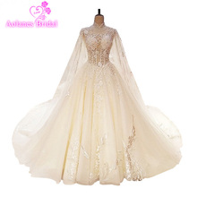 Robe De Mariage Luxury Lace Crystals Beaded Appliques White Wedding Dress Gown 2017 Bridal Gowns Vestido Noiva