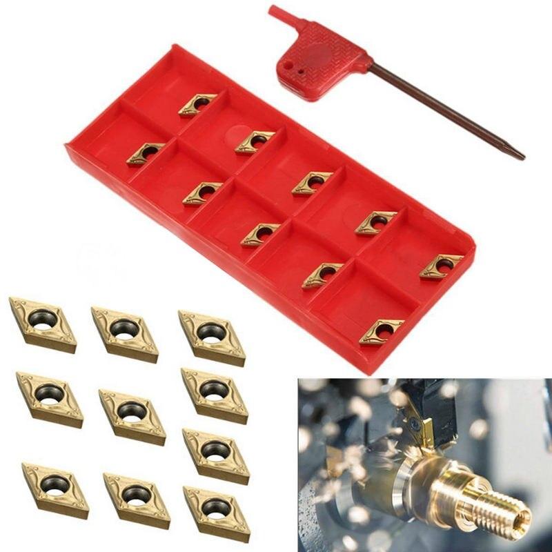 где купить 10pcs/lot High Quality DCMT070204 US735 DCMT21.51 Carbide Inserts Blades For Lathe Turning Tool дешево
