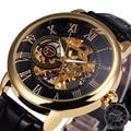 2017 forsining 3d deportes esqueleto de moda correa de cuero reloj relojes mecánicos de los hombres de primeras marcas de lujo royal retro diseño