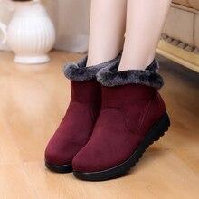 2019 botas de nieve de invierno con cremallera de moda para mujer botas de piel de gamuza de cuña tobillo botas de mujer de talla grande 35-43 zapatos de mujer