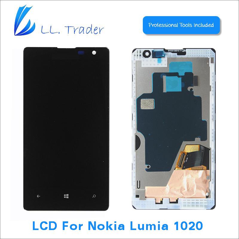 Prix pour Ll trader highscreen aaa 100% testé nouveau lcd de remplacement pour nokia lumia 1020 lcd affichage à l'écran tactile digitizer assemblée + outils