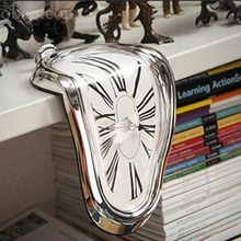 Personality Melting Alarm Clock Creative Desktop Melting Wall Clock Art Station Right Angle Clock Home Decor Christmas Gifts
