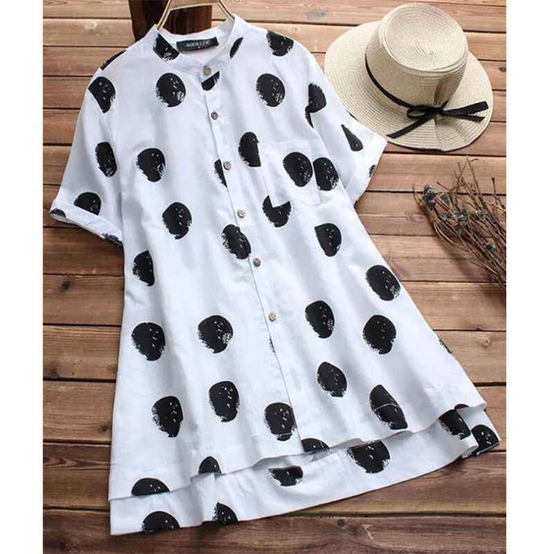 Women Plus Size Buttons Down Short Sleeve Casual Blouse Polka Dot Cotton Shirt Loose Top Blouse