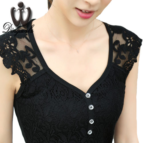 Dingaozlz New brand Sexy lace Tops Summer Women's shirt Korean Plus size Tank Tops for Women Blusa Casual clothing 4XL
