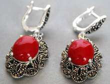 "Jewelry Jade Earring amazing 11/2"" Vintage 925 Silver & Marcasite Red Coral Earrings Free Shipping(China)"
