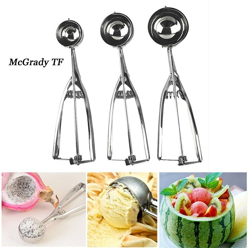 Mac 5*21.5cm Stainless Steel Spring Handle Ice Cream Mashed Potato Cookie Scoops Spoon Ice Cream Tools Cake Tools