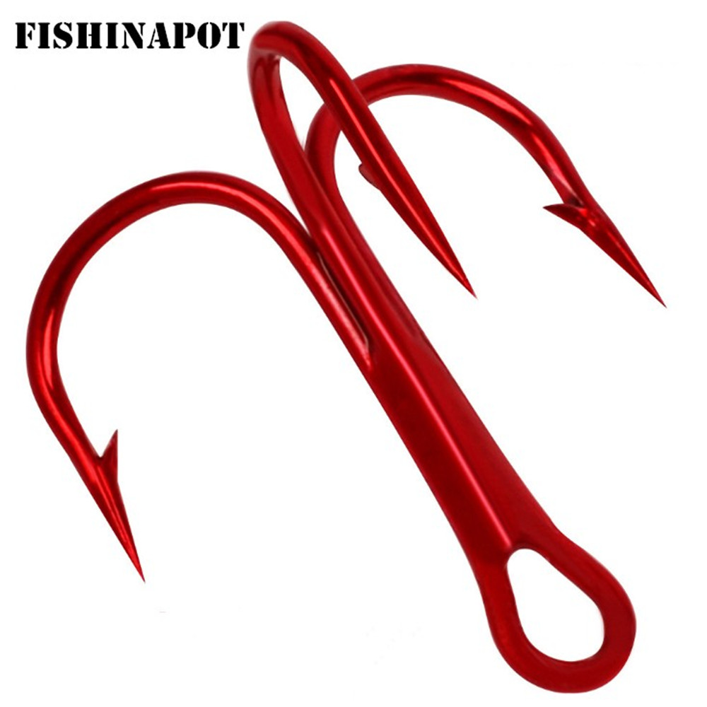 20pcs/lot Red 2/4/6/8/10# Fishing Hooks High Carbon Steel Treble Hook Round Bent Treble For Saltwater Bass Fishing Tackle Pesca
