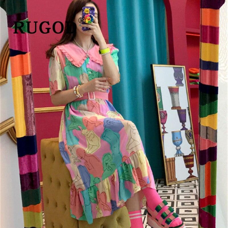 RUGOD  Korean Chici Geometric Printed Women Dress Elegant Peter Pan Collar Sweet Ladies Party Dressss Vestido Fashion Pink Dress