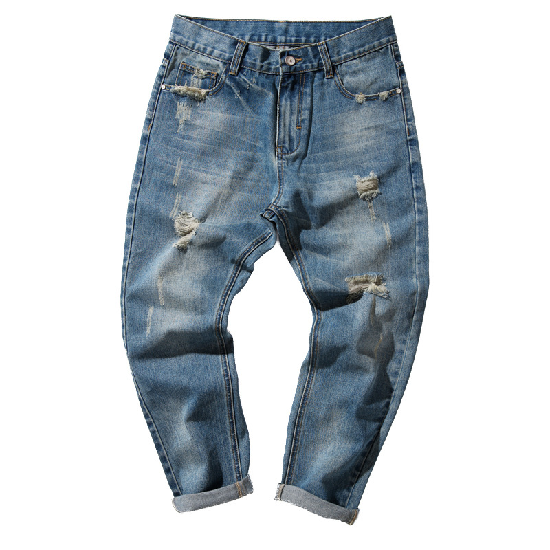 Ripped Hole Jeans For Man Denim Holes Jeans Male Cotton Denim Trousers Male Pants Boys Cool Denim Pants Long Trouser Y298