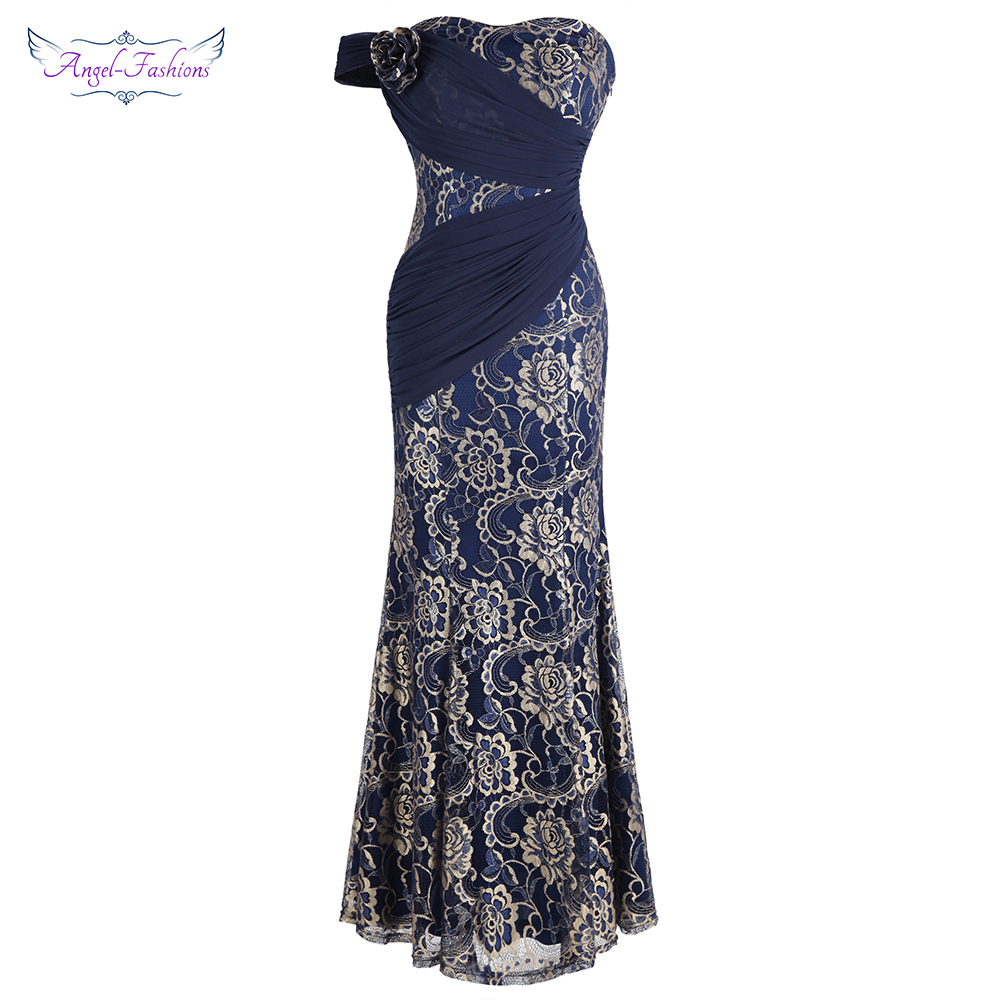 Angel fashions Women s Flower Beading Lace Evening Gown Pleated Vintage Party Dress Navy Blue W
