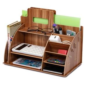 Image 1 - Wood Desk Organizer Office Bureau Pen Holder Wooden Sorter with Drawer Organizer Pen Pencil Organizer