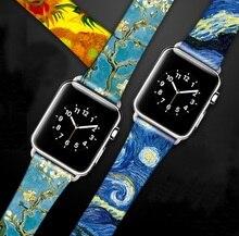 Van Gogh Artพิมพ์หนังสำหรับIwatch Series 5 4 3 2 1ดอกไม้สายรัดข้อมือสำหรับAppleนาฬิกา40มม.38มม.44มม.42มม.
