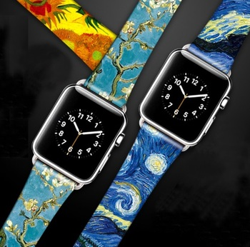 Van Gogh Art Printed Leather Band for Iwatch Strap Series 5 4 3 2 1 Flower Wrist Strap for Apple Watch Band 40mm 38mm 44mm 42mm