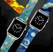 Van Gogh Nghệ Thuật In Hình Da Dành Cho Iwatch Dây Đeo Series 5 4 3 2 1 Hoa Dây Đeo Cổ Tay Cho Apple dây Đồng Hồ 40Mm 38Mm 44Mm 42Mm