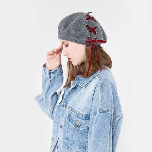 0d0f4c87a31 2018 100% wool Vintage Warm Wool Winter Women Beret French Artist Beanie Hat  Cap For Sweet Girl Gift spring and autumn hats